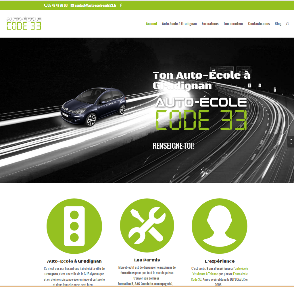 Cr ation de site web auto ecole code 33 gradignan a for Idee creation site internet