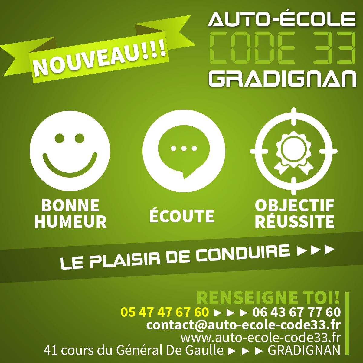 Bannières Facebook pour l'Auto-école Code 33 de Gradignan