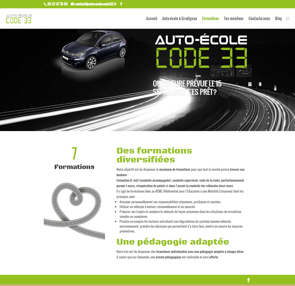 Cr ation de site web auto ecole code 33 gradignan a for Idee de site internet