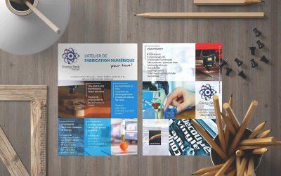 Logo et flyer pour le FabLab de Tarbes EnergyTech